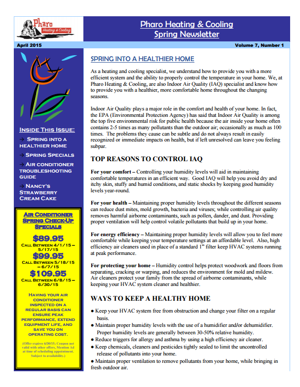 Spring 2015 Newsletter Volume 7 Number 1 | Pharo Heating