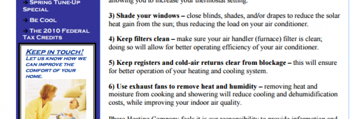 Spring 2010 Newsletter Volume 2 Number 1   Pharo Heating